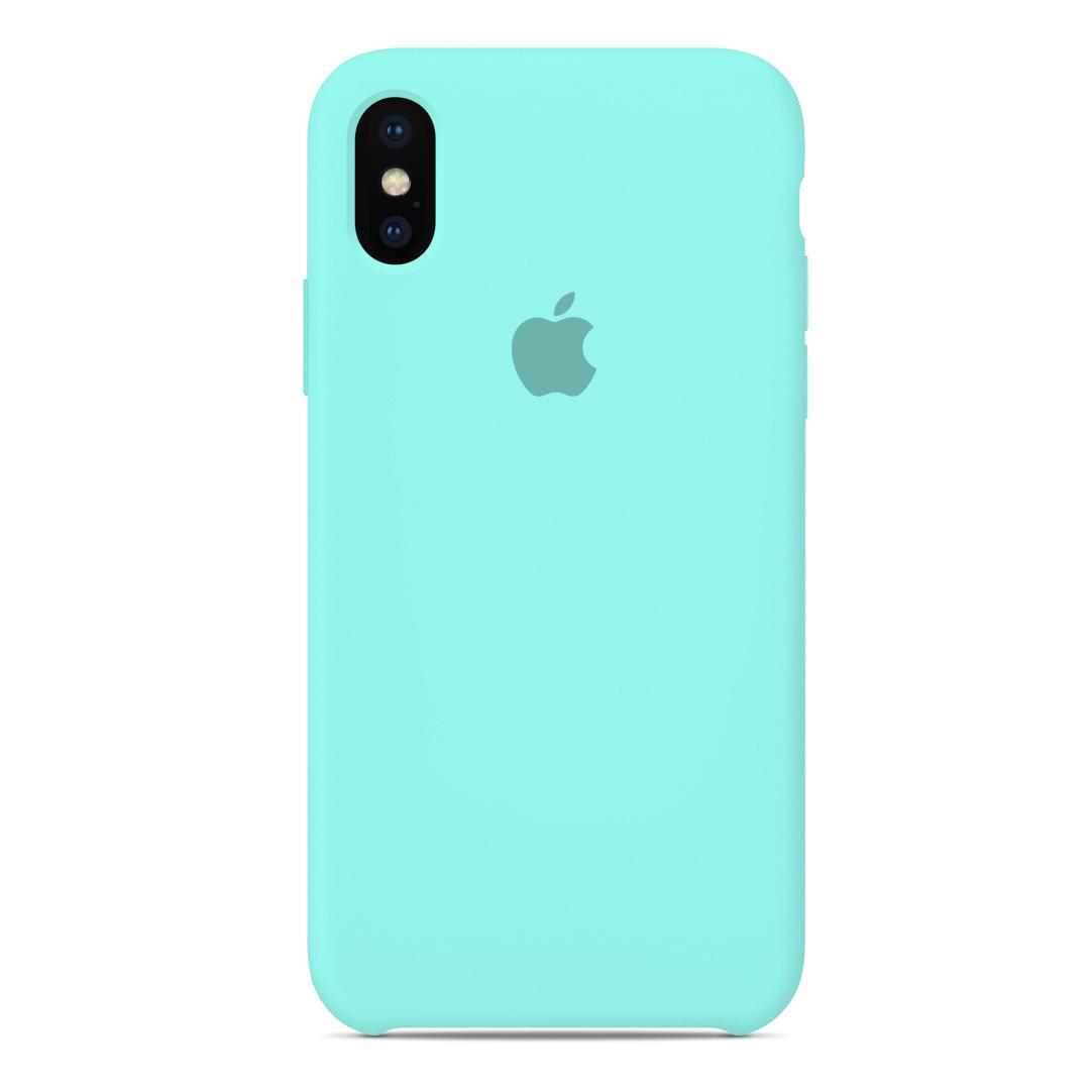 009b891280b Carcasa Silicona Logo Apple iPhone XS X 10 Verde Menta   Carcasas Chile